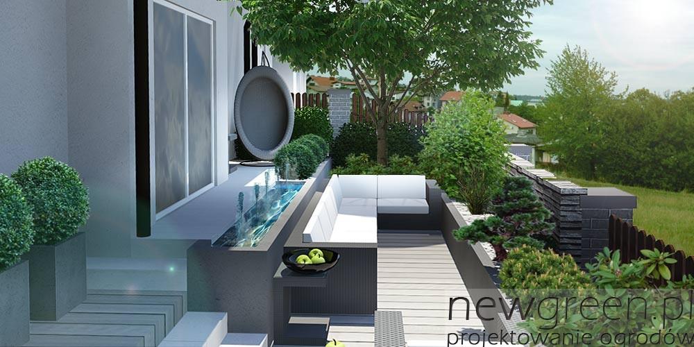 Projekt małego ogrodu przy domu szeregowym, Wadowice